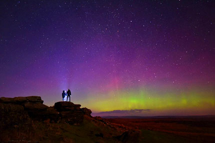 Purple Northern Lights, Yorkshire, New Years Eve 2016